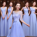 Long Chiffon Bridesmaid Dress With embroidery 2017 Scoop neck Bridesmaid Gowns Style A-E
