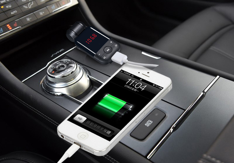 New 12V-24V auto stereo bluetooth hands free car kit FM transmitter U disk TF card MP3 music player voiture bluetooth telephone 9