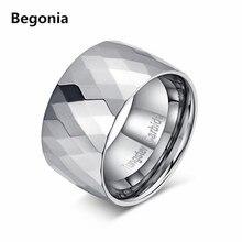 12mm ancho moda multifacético masculino anillo de metal duro de alta pulido anillo de compromiso de la boda para hombre tungsten carburo anillos
