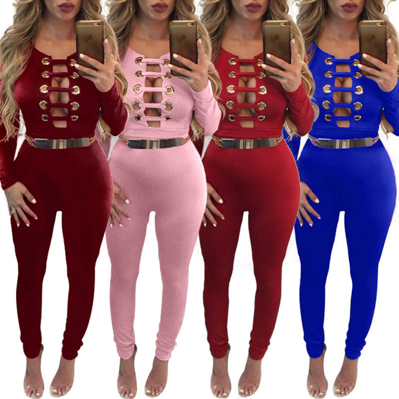 Bodycon Rompers Womens Jumpsuit Sexy Fashion 2017 Party Bandage Jumpsuit Solid Color O-neck Long Sleeve High Waist Jumpsuit