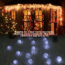 2M 20 LED Cotton Ball String Lights Battery Powered LED String Lights Party Fairy Lights guirlande for Christmas Indoor Decor цена и фото