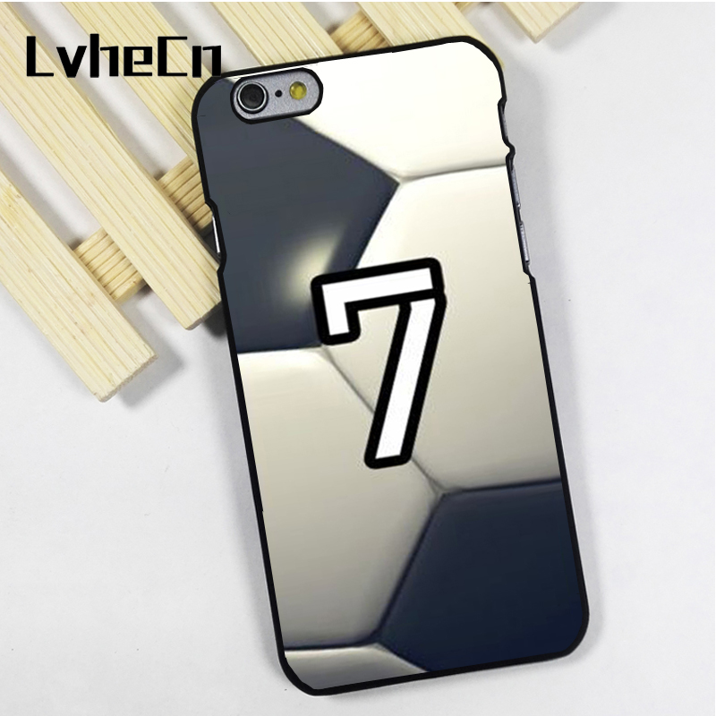 LvheCn phone case cover fit for iPhone 4 4s 5 5s 5c SE 6 6s 7 8 plus X ipod touch 4 5 6 Personalized Number Soccer Football