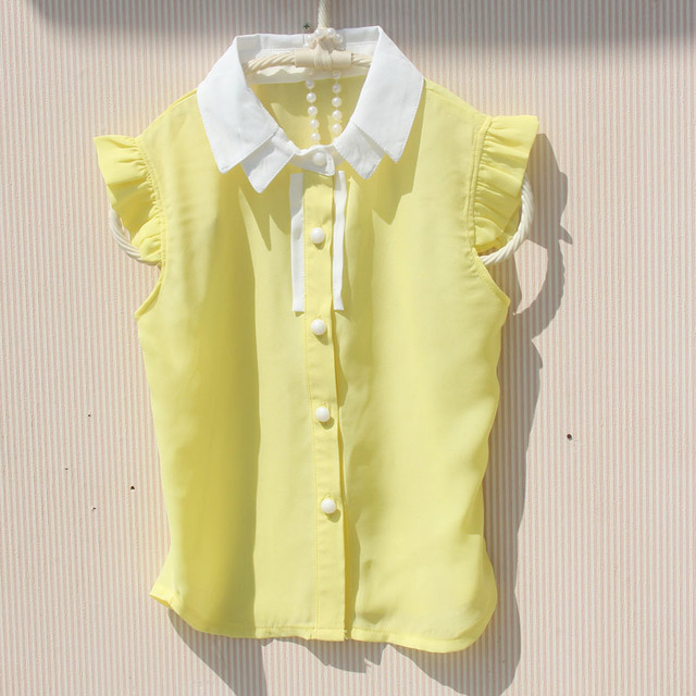 adb330ec0112 2018 Summer Girls Blouse Shirts Kids Sleeveless Chiffon Yellow School Girl  Tops Baby Toddler Teenage Children's Clothing JW3564A