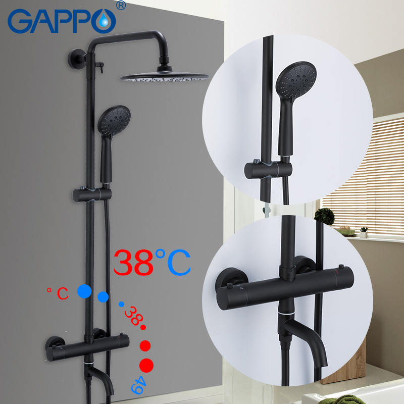 Gappo Black Shower System Bathtub Thermostatic Cold And  Hot Water Temperature Control Faucets Shower System Big Overhead