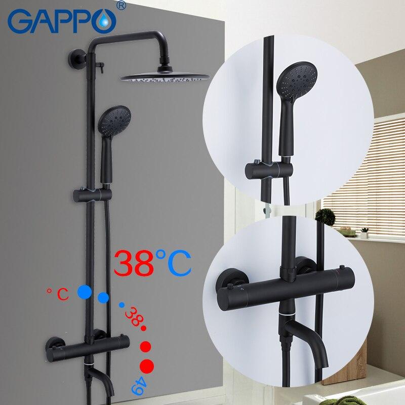 Gappo preto sistema de chuveiro banheira termostática torneiras controle temperatura água fria e quente sistema chuveiro grande sobrecarga