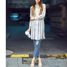Nice Summer Autumn Nice Women Chiffon Blouse Women Shirt Stripe Printed Shirts Sun Protection Tops   AH8800