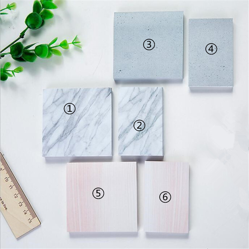 Creative Marble Stone Texture Self-Adhesive Memo Pad Daily Notepads Paper Escolar Office/School Supplies Bookmark Post it Label
