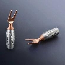 4 ピース VS 701 ビボルオーディオ高性能純銅 Y スペードプラグなしメッキスペードフォークスクリューロックコネクタ