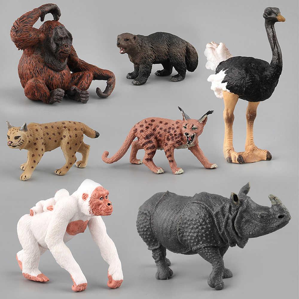 محاكاة ألعاب حيوانات الأطفال الاطفال لعبة هدية الوشق Orangutan تمساح النعامة تمثال خنزير بري نموذج ألعاب شخصيات الحركة تمثال دمى