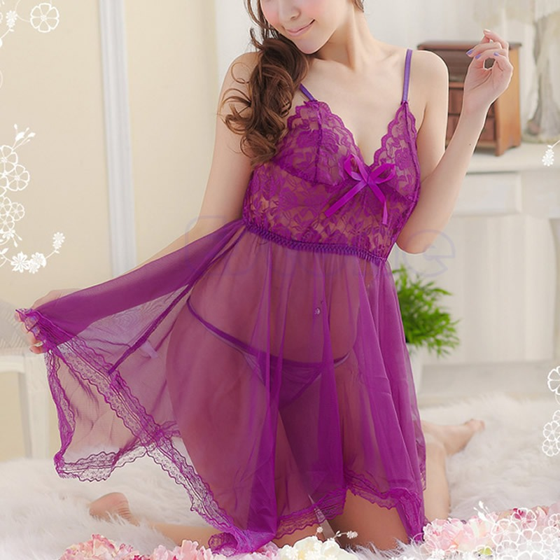 Women's <font><b>Sexy</b></font> <font><b>Lingerie</b></font> Lace Dress Underwear <font><b>Transparent</b></font> Babydoll Sleepwear + G-string image