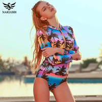 NAKIAEOI 2017 One Piece Swimsuit Long Sleeve Swimwear Women Bathing Suit Swimsuit Print Floral One Piece