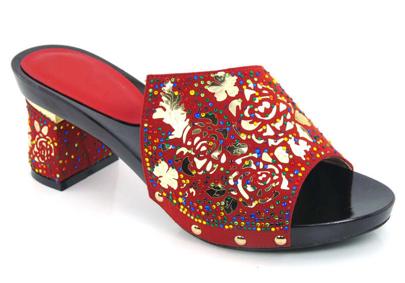 ФОТО RED color Top Fashion African Casual High Heels For Woman Latest African Wedding Sandals Shoes Free Shipping !DG1-12