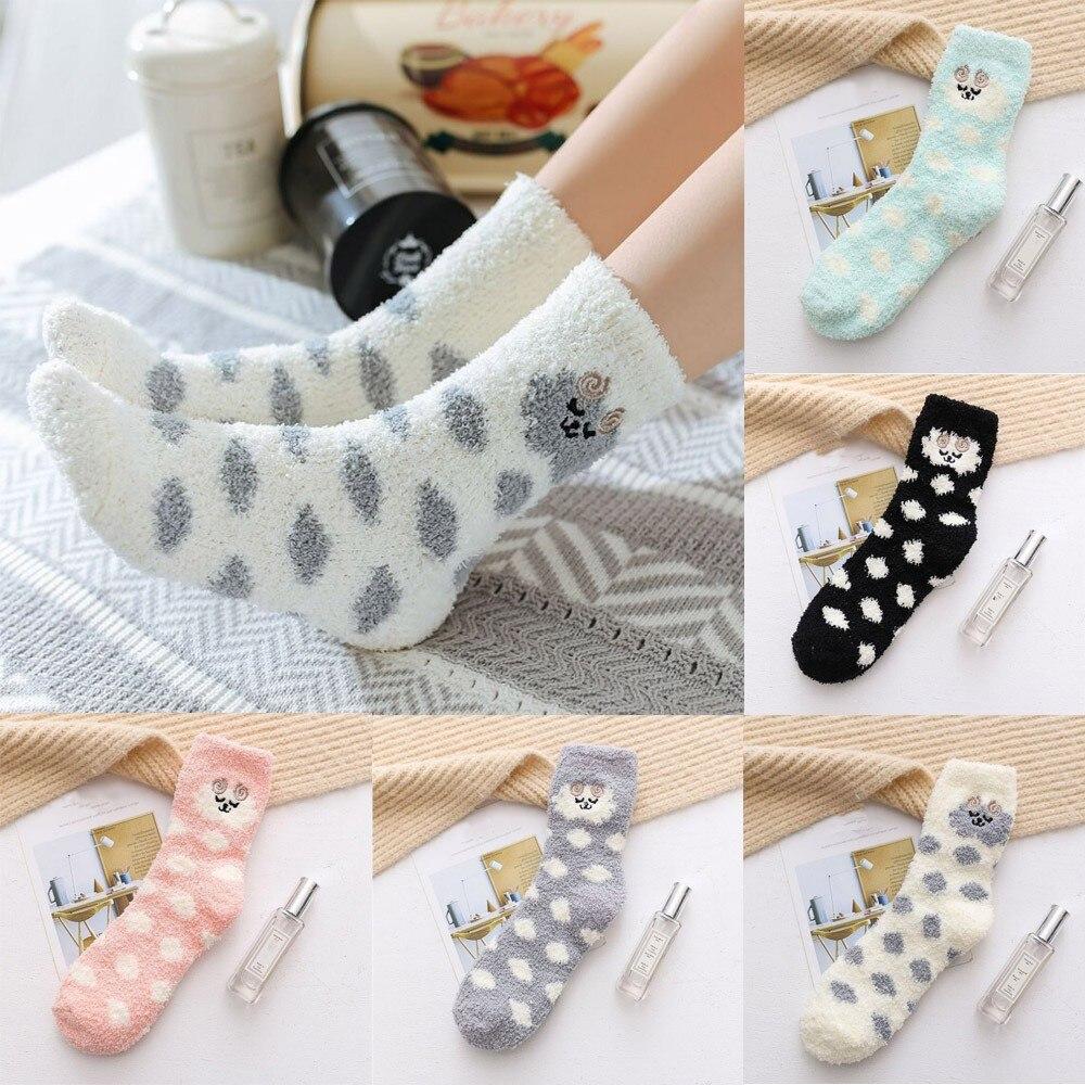 Women's Socks Thick Heavy Winter Warm Sock Crew Dot Animal Print Fuzzy Socks Beautiful Moistureproof Sokken Breathable Soxs