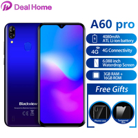 New Blackview A60 Pro Android 9.0 Pie 6.088 Waterdrop Smartphone 4080mAh 4G Touch ID Dual Rear Camera Mobile Phone