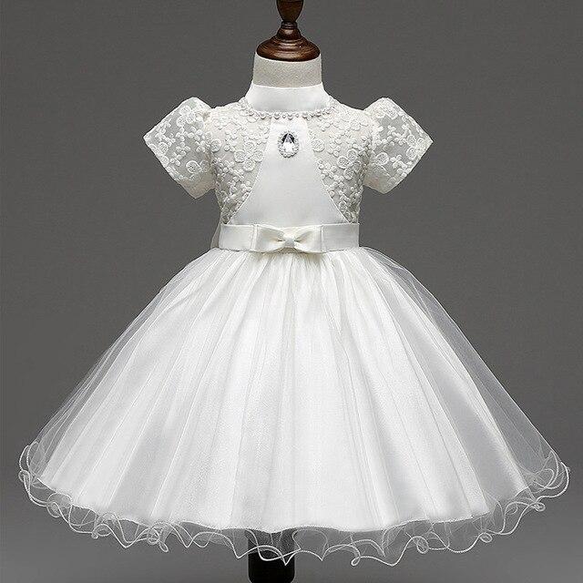Элегантный Девушка свадебное Платье Летних Девочек puff рукавом кружева вышивка тюль Платье Девочка Платье белый/розовый/желтый