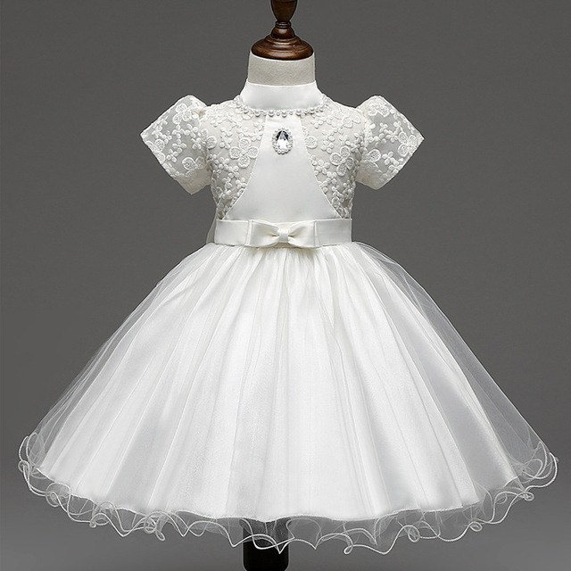 Muchacha elegante Vestido de novia de Verano Niñas puff manga de encaje bordado Vestido de Fiesta de tul Vestido Del Bebé blanco/rosa/amarillo