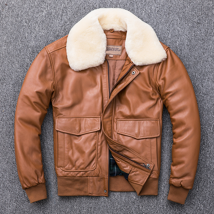 HTB1UMlMXzDuK1Rjy1zjq6zraFXaY MAPLESTEED Thickening Quilted 100% Sheepskin Leather Jacket Men Air Force G1 Flight Jacket Man Winter Coat Collar Removable M176