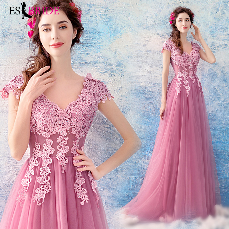 Sexy   Evening     Dresses   Long 2019 Pink Simple Plus Size V-neck Sleeveless Wedding Guest Gown Backless Abito Da Cerimonia ES2222