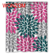 WONZOM Chrysanthemum Modern Polyester Waterproof Abstract Flower Shower Curtains For Bathroom Fabric Bath Curtain With Hooks