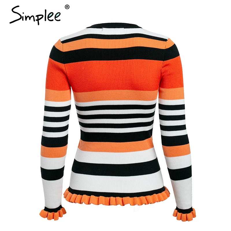 Simplee ruffles 스트 라이프 가을 겨울 스웨터 o ncek 긴 소매 캐주얼 pullovers 핑크 슬림 니트 스웨터 패션 2018 여성