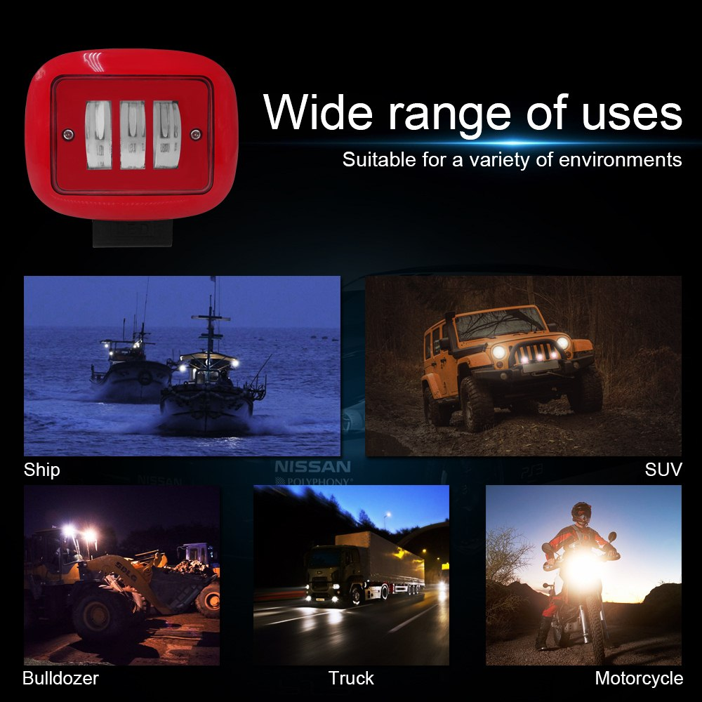 Image 5 - 1pcs 30W Red Square work Light 6000K Red Round Work Light Spot Spotlight For Offroad Truck Tractor SUV Driving Lamp 4000lm-in Light Bar/Work Light from Automobiles & Motorcycles