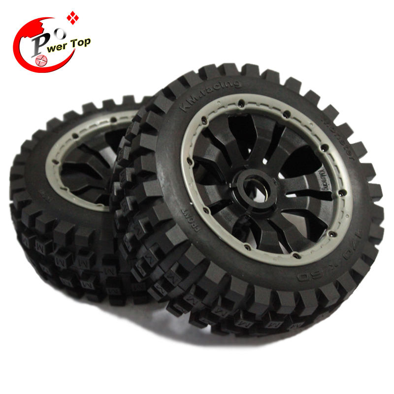 ФОТО King Motor Baja Monster tire front completed set with poision rim for HPI BAJA 5B Parts Rovan
