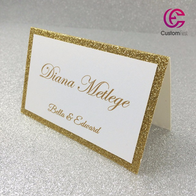 30pcs Lot Personalized Place Card Name For Party And Wedding Gold Glitter Thick Paper