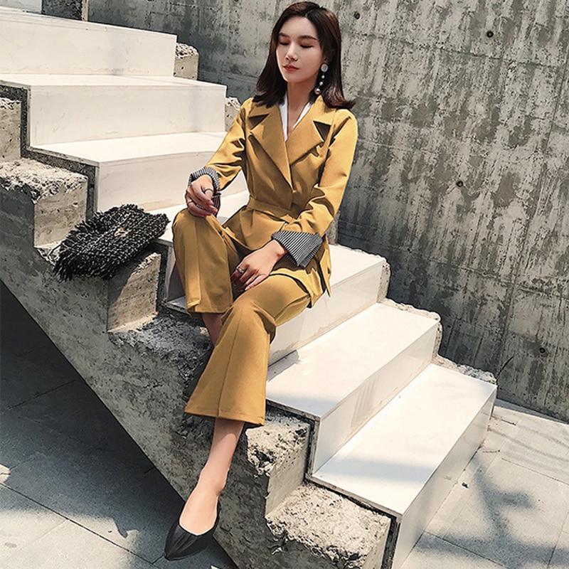 yellow Style amp; Ceintures 2 Ensemble Taille Ol Flare Mode Black Haute Costume Pantalon Femelle Jaune Blazer Pièces Col Occasionnel Femmes 2018 Cranté q86w148S