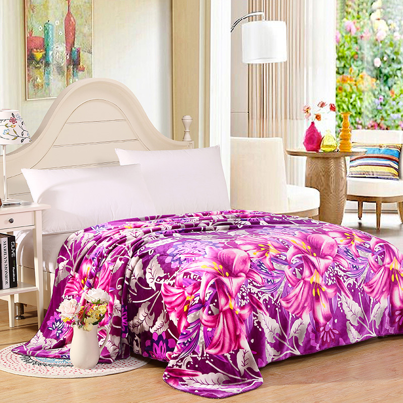 ARNIGU Flower printed warm soft plaids Double Face Thick Blankets sofa throw 200*230cm Queen size Winter Quilt/bed sheet zhh warm soft fleece strip blankets double layer thick plush throw on sofa bed plane plaids solid bedspreads home textile 1pc