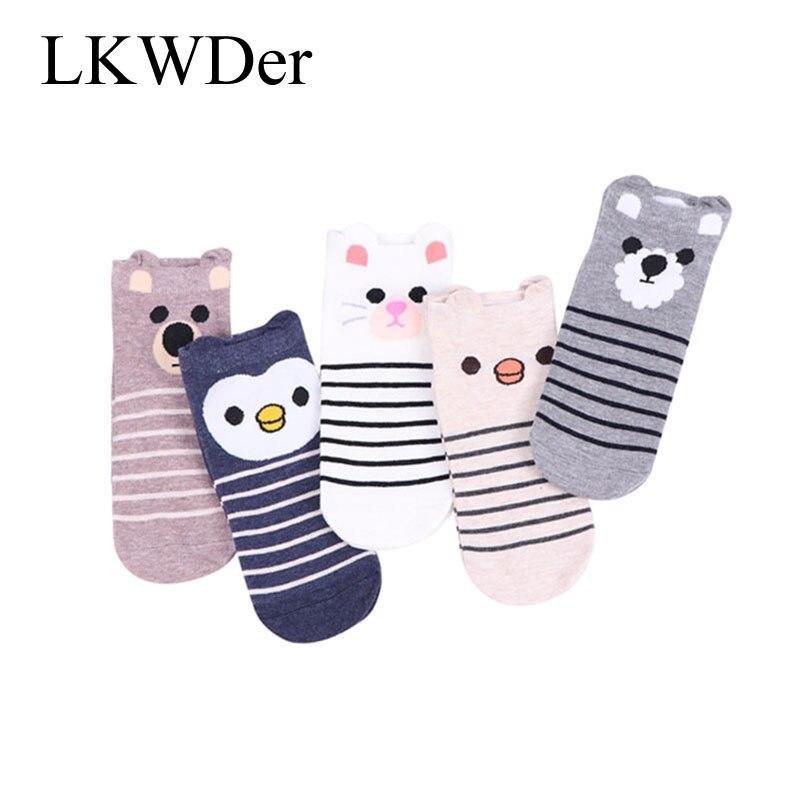 5pairs Cute Girls Socks 3D Ear Cartoon Animal Zoo Cotton Soft Sox Creative Kawaii Jumbo Socks Hosiery Female Women's Socks Meias