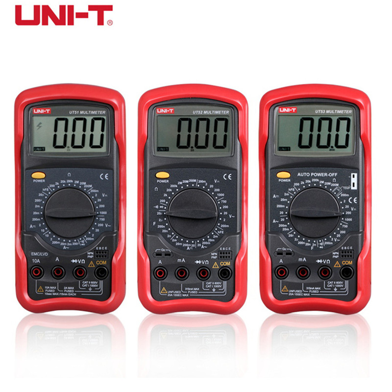 UNI-T Digital Multimeter UT51 UT52 UT53 UT54 UT55 UT56 Voltmeter Ammeter Ohmmeter Electrical Meter with LCD display multimeter uni t ut90c ut 90c low price best multimeter digital with lcd display