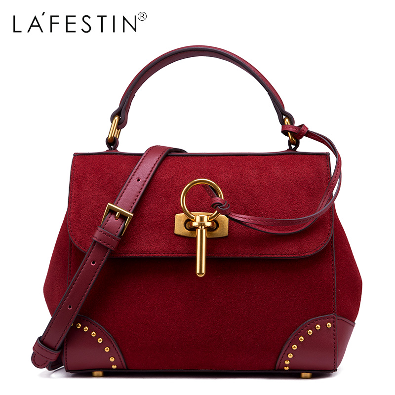 LAFESTIN Faux Suede Handbags Women Designer Rivet Faux Suede bags Trapeze Shoulder Luxury Totes Multifunction brands Bag bolsa lafestin luxury shoulder women handbag genuine leather bag 2017 fashion designer totes bags brands women bag bolsa female