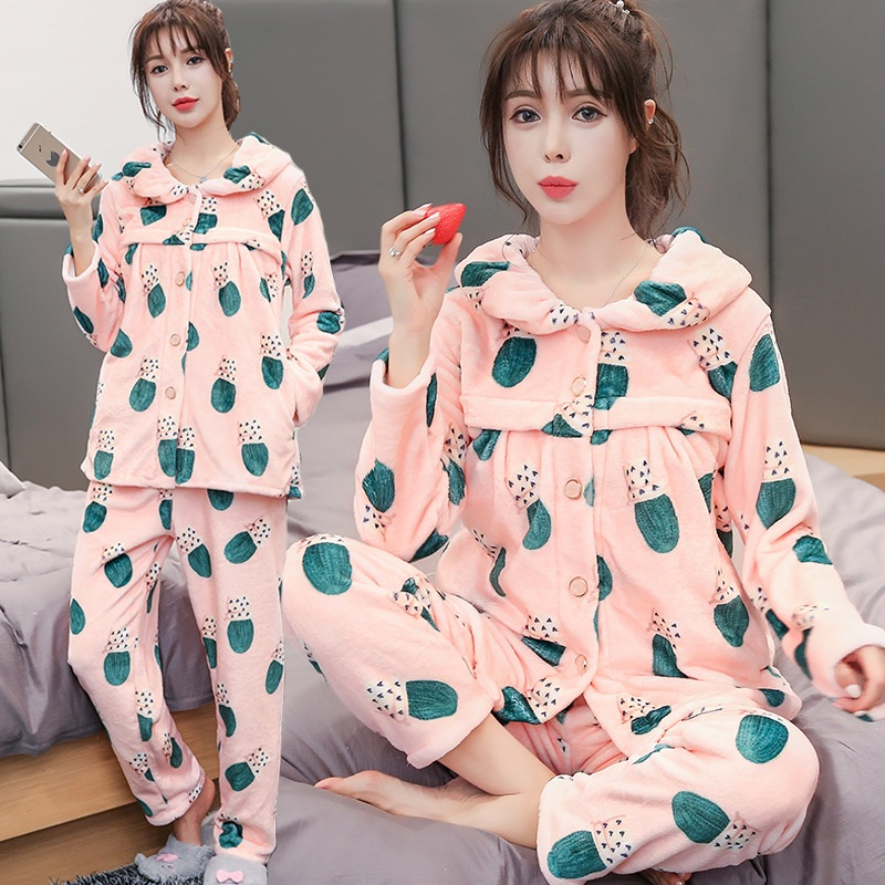 Winter thickening pregnant pajamas flannel maternity clothes set Flannel Breast-Feeding Home Wear Nursing Clothing Y902 long sleeve cartoon bear thick flannel maternity clothing pajamas sets breast feeding home wear nightwear factory price