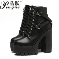 Gothic Cross Strap Ankle Boots Women Faux Leather Platform Block Chunky Thick Ultra High Heel Gladiator Shoes Bootie