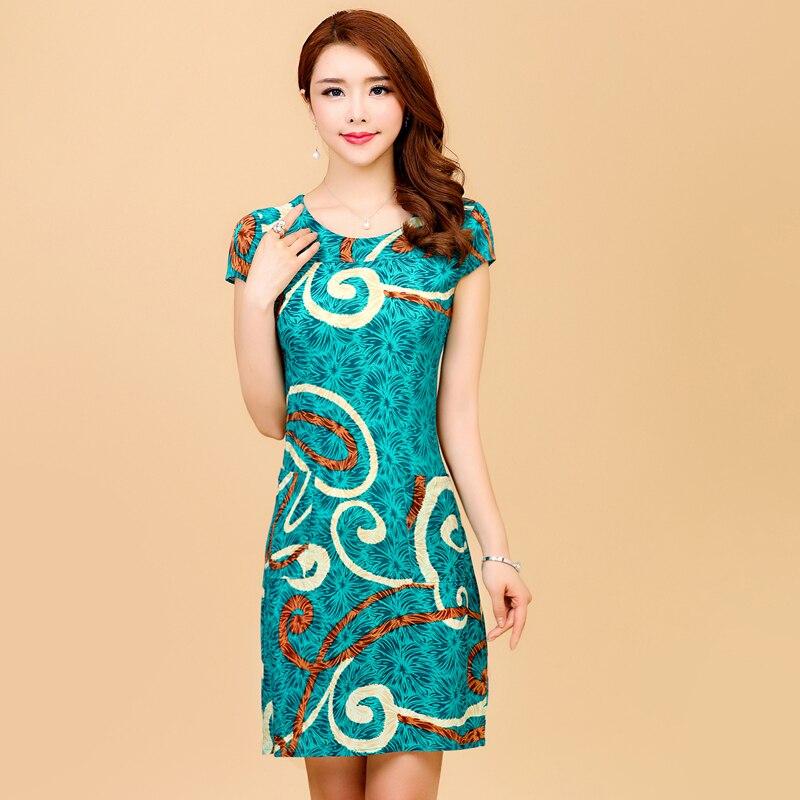 HANQIYAHULI 5XL 2018 Women style dress Slim Tunic Milk Silk print Floral Casual Plus Size vestido feminino loose dresses clothes 2