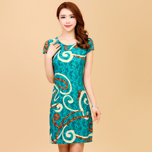2019 Women Style Dress Slim Tunic Milk Silk Print Floral Casual Plus Size Vestido Feminino Loose Dresses Clothes L-5XL