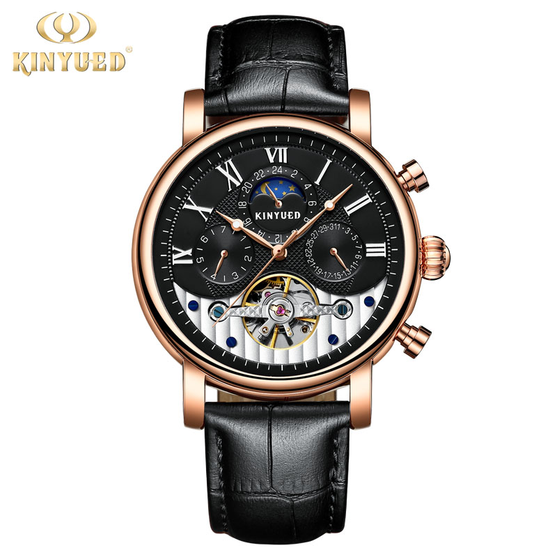 KINYUED Relogio Masculino Luxury Brand Tourbillon Automatic Mechanical Watches Leather Strap Waterproof Calendar Sport Men Watch kinyued fashion tourbillon skeleton watch men sport luxury brand mens automatic mechanical watches calendar relogio masculino