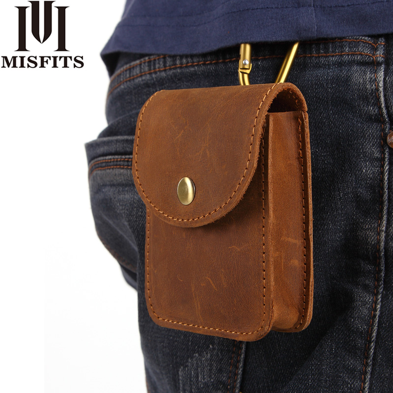 MISFITS Genuine Leather Waist Packs Men Cigarette Pouch Mini Waist Bag Male Crazy Horse Leather Vintage Belt Bag Hip Bum Pack