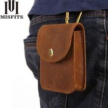MISFITS Genuine Leather Waist Packs Men Cigarette Pouch Mini Bag Male Crazy Horse Vintage Belt Hip Bum Pack