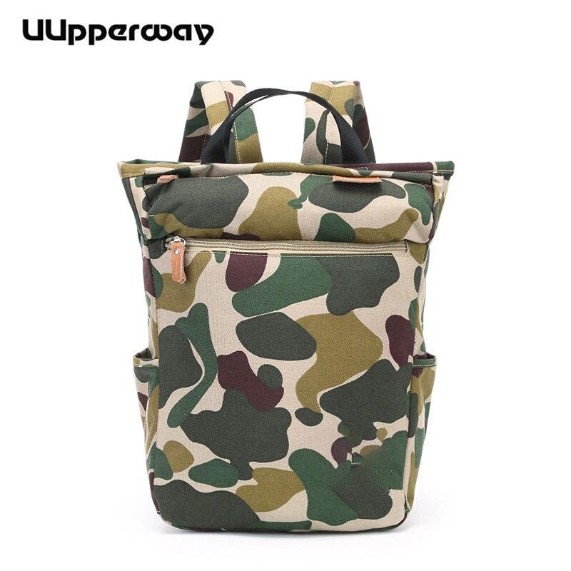 Laptop Bagpack Green Mochila Korean-Style Camouflage-Pattern Girls Women Fashion Large