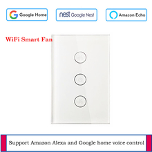 US WiFi Celling Fan switch Glass panel switch App remote control Fan Smart home with Google and Alexa support voice control wifi intelligent remote control touch switch alexa voice control app remote control smart switch