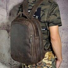 New 2017 Vintage Genuine Leather Mens Back pack Crazy Horse Cowhide Man 14 inch Laptop Shoulder Backpacks School Travel Bag