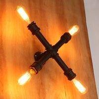 Американский старинные бра водопровод крест кованого лампа железная стена