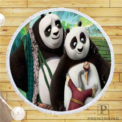 Custom Diy Disesuaikan Kain Microfiber Kung Fu-Panda (1) pantai Bulat Selimut Handuk Dicetak Di Permintaan 150 Cm #19-02-28-4-166