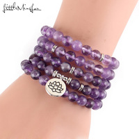 Luxurious Design Purple Natural Stone 108 Mala Lotus Bracelet or Necklace Reiki Charged Buddhist Rosary Bracelets for women