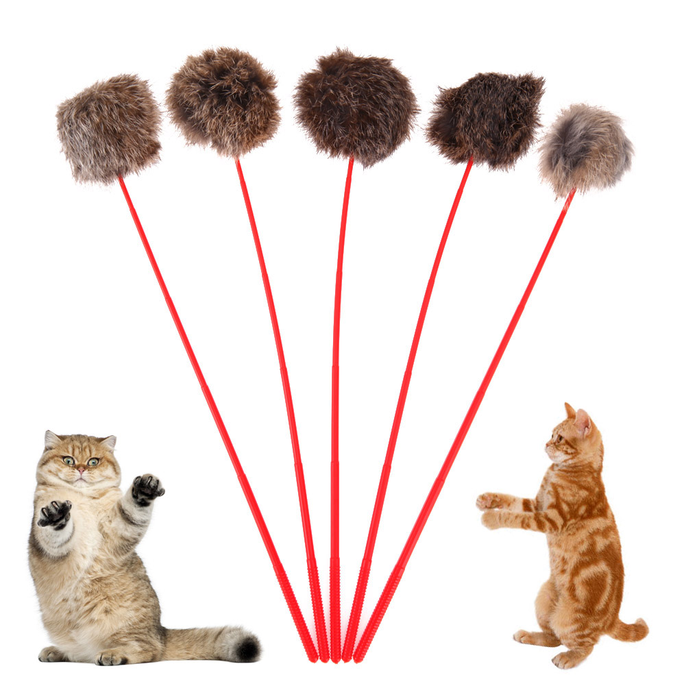 5pcs Pet Cat Toy Plush Rabbit Hair Ball Tail Rod Stick Catcher Teaser Wand Plastic Toy For Cat Playing Catching Random Delivery