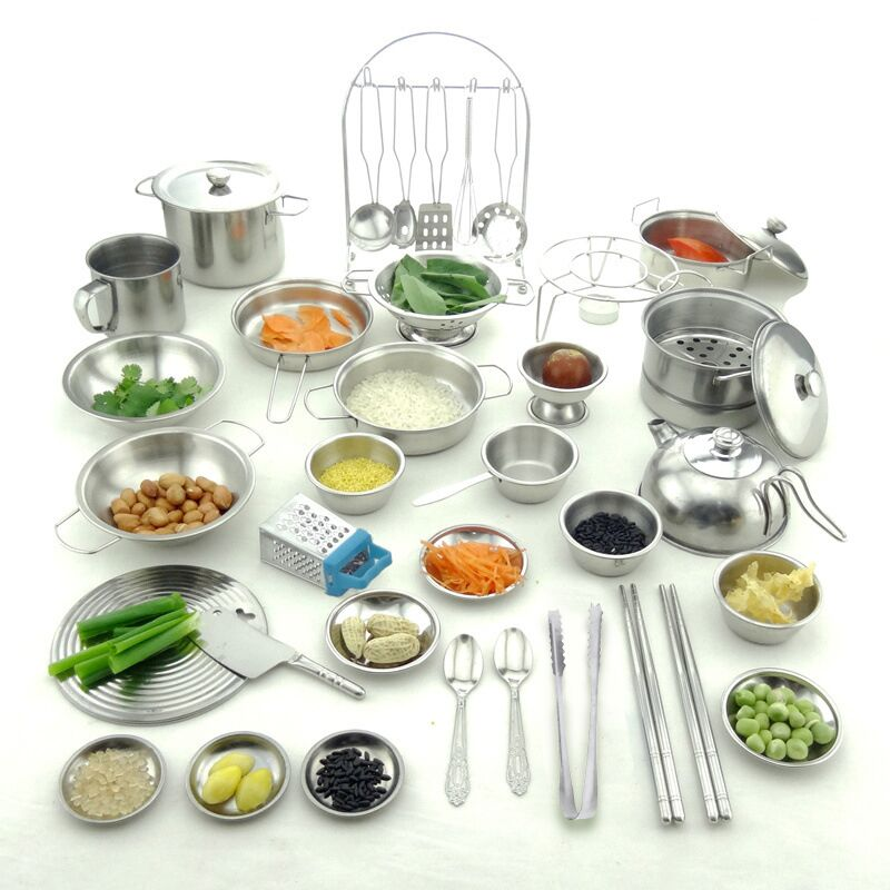 Espeon 1Pcs Stainless Steel Kids House Kitchen Toys Cooking Cookware Children Pretend Play Kitchen Playset - Silver Figures