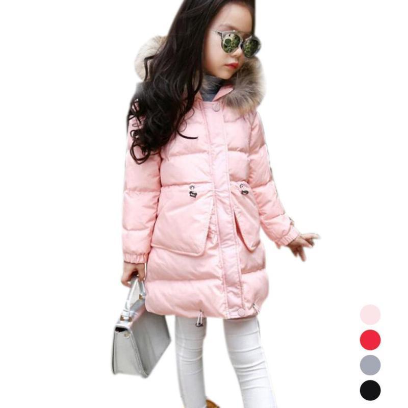 все цены на Girls Long Padded Jacket Children Winter Coat Kids Warm Thickening Hooded down Coats For Teenage Outwear Girls clothing D3