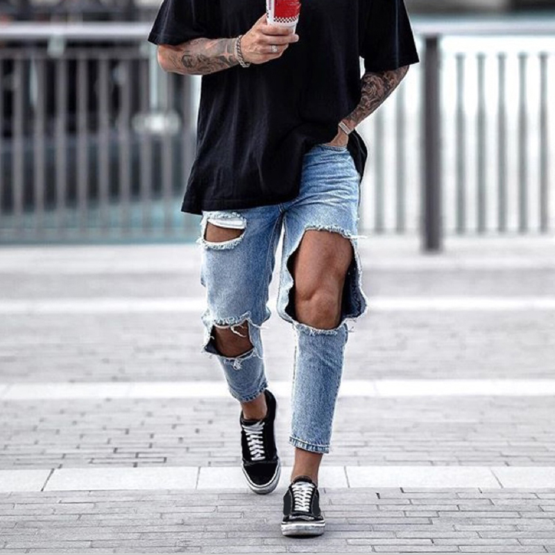 Jeans Men Casual Mid Waist Big Hole Ripped Jeans For Men Streetwea Fashion Summer Denim Blue Vintage Harem Pant Jeans Hombre D40