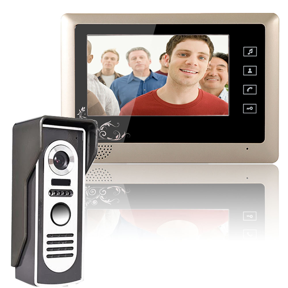 One to One Video Doorbell 1 Outdoor camera + 1 Indoor Monitor Video Handsfree Intercom Kit System 7 Inch screen CMOS 700TV Line 10 tft color wired video doorphone intercom system one black indoor monitor screen two one ir outdoor camera video doorbell